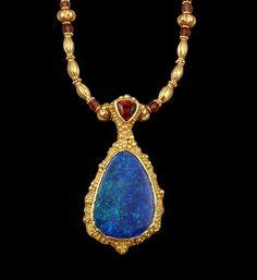 Midnight Fire Pendant - Australian Black Opal & Spessertite Garnet in 22k gold on Etsy, $4,265.69 CAD