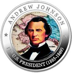 5 Dollar coin (17th US president Andrew Johnson 1865-1869 and Alaska, which he purchased from Russia)