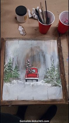 Cut your own Christmas tree & vintage red farm truck. Painted red truck with a Christmas tree on wood canvas art are perfect for the canvas painting ideas canvas painting canvas painting ideas for beginners canvas art canvas painting diy canvas paint Christmas Signs, Christmas Art, Christmas Projects, Christmas Decorations, Christmas Truck, Tree Decorations, Vintage Christmas, Holiday Signs, Christmas Images