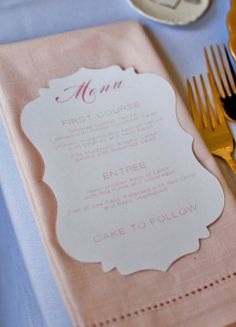 This is a slightly different shape than what we have and I think it's beautiful. Die Cut Wedding Menu Sweet Emilia Jane Captured by Aimee1 300x416 Wedding Stationery Inspiration: Die Cutting
