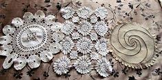Vintage Trio of Crochet Doilies White and Ecru Doilies