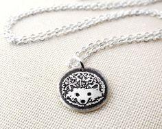 Tiny Hedgehog Necklace in Reclaimed Silver - hedgehog pendant eco friendly. ($30.00), via Lulu Bug Jewelry Etsy.