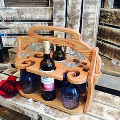 Solid Oak Wine Tote Customized Gift Wine tote von Imagineeringshop