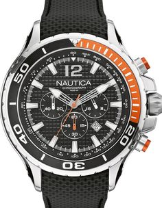 Nautica sportive watch. A chronograph is always popular  and our prices even more so,  check out our collection with 50% discount. www.megawatchoutlet.com