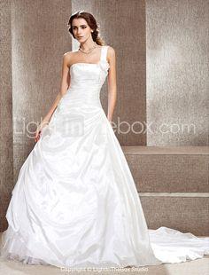 A-line One Shoulder Cathedral Train Taffeta Wedding Dress - EUR € 230.99