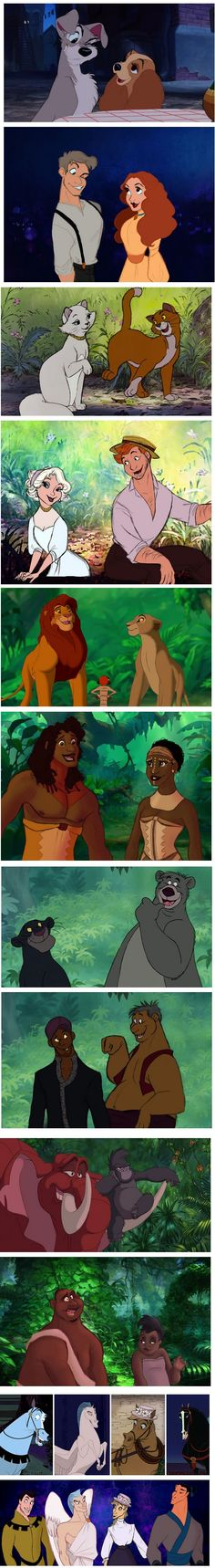 Disney animals and their human form (By Alaina Bastian) these are seriously some of the best I've seen!!