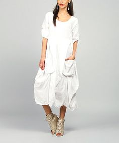 This White Pamela Linen Scoop Neck Dress by 100% LIN BLANC is perfect! #zulilyfinds