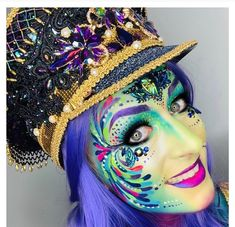 Painted by Ingrid Breugelmans Sôkkertantes Paintertainment Realistic Costumes, Scary Costumes, Halloween Costumes, Adult Face Painting, Neon Jungle, Costume Design, Mardi Gras, Makeup Inspiration, Halloween Party