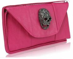 Pink Faux Leather Clutch Evening Purse Bag With Skull from Picsity.com