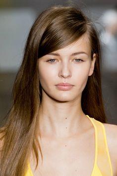 Deep side part hair - DKNY spring 2013