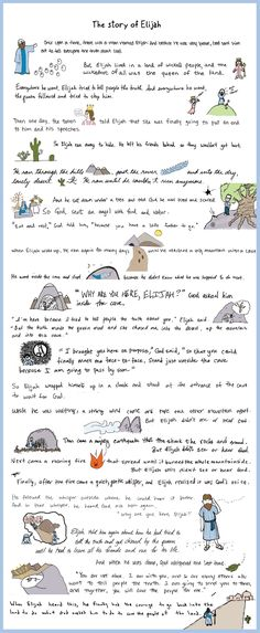 Hand-illustrated (by 20 diff. ppl!) poster of the Bible story of Elijah- baby shower activity