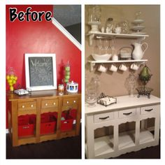 DIY baker's rack! Garage sale table, shelves from a hardware store, s hooks and a cheap wine glass rack!