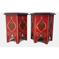 Two small Moroccan tables, manufactured and painted by hand