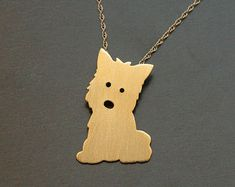 West Highland Terrier Dog , Westi Jewelry , Kawaii Dog Gold Necklace , Puppy Charm , Gift For Dog Owner and Pet Lover