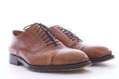 Bontoni Brown Leather Lace Up Oxford Men's Shoes Size 8