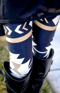 Modern Aztec Plum Leggings with Long Boots | Fashionista Tribe