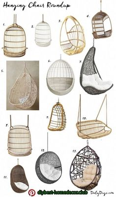 Hanging Chair Roundup & Styling Ideas Hanging chair, Bedroom hanging chair, Balcony decor, Bedroom d Girl Bedroom Designs, Room Ideas Bedroom, Bedroom Decor, Tween Room Ideas, Bedroom Furniture, Pipe Furniture, Garden Furniture, Girls Bedroom Colors, Furniture Design