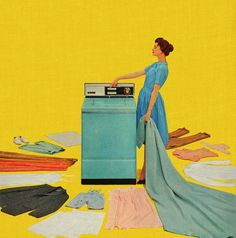 One Touch, detail from Hotpoint Washing Machine Ad. - Roger Wilkerson, The Suburban Legend! Retro Ads, Vintage Advertisements, Vintage Ads, Vintage Images, 1950s Advertising, Vintage Food, Vintage Stuff, Vintage Dress, Hotpoint Washing Machine