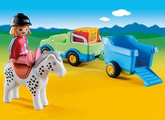 Take your horse to a show or to a new trail with the Playmobil Car with Horse Trailer. With a bright and colorful design and large, rounded pieces, this PLAYMOBIL set is ideal for toddlers. Ages 18 months to 4 years. Trailer Ramps, Trailer Hitch, Towing Vehicle, Kids Toys For Boys, Toddler Toys, Horses, Car, Stuff To Buy, 4 Years