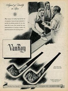 1944 Vanroy Pipe Print Ad  Interior Design  Paper Ephemera