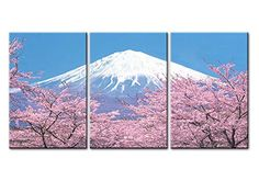 Canvas Print Wall Art Painting For Home Decor Peak Of Mount Fuji With Cherry Blossom Sakura In Blue Sky View From Lake Kawaguchiko Japan In Spring 3 Pieces Panel Paintings Modern Giclee Stretched And Framed Artwork The Picture For Living Room Decoration Landscape Pictures Photo Prints On Canvas * You can get additional details at the image link.