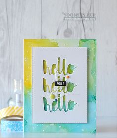 RejoicingCrafts: Negative die cut background with Simon Says Stamp Splash of Color Hello die! #simonsaysstamp