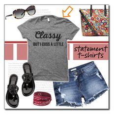 """Say What: Statement T-Shirts"" by court8434 ❤ liked on Polyvore featuring H&M, Tory Burch and statementtshirt"