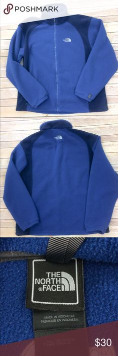 NORTH FACE Full Zip Fleece Large Blue Royal Blue with darker blue Excellent used condition  Smoke free home 🏡 North Face Jackets & Coats