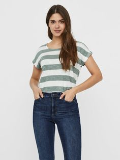 Striped short sleeved top | VERO MODA Shirts & Tops, Fresh Tops, Forever 21 Fashion, Blazers, Summer Fashion For Teens, Teen Fashion, Nike Pro Women, Victoria Secret Outfits, Skinny