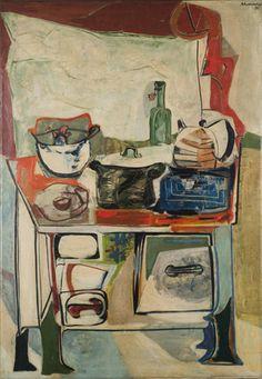 Emil Schumacher -   Der Herd  The Cooker  1950  Malerei  Öl auf Leinwand  130 × 90 cm
