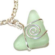 Cute heart shaped piece of wire wrapped aqua sea glass - bracelet