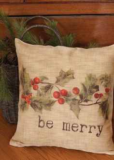 Christmas Holly Be Merry Pillow, Natural, Burlap Look, Two Options Christmas Cushions, Burlap Christmas, Christmas Pillow, Primitive Christmas, Country Christmas, Christmas Art, Christmas Decorations, Christmas Ornaments, Christmas Swags