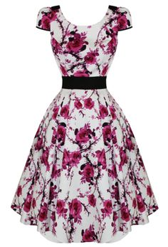 Plus Size Rockabilly Floral Swing Dress - Free Postage Australia Wide