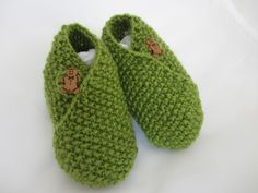 Hand Knitted Wrap Around Button Baby Shoes Booties Cute Button Detail Unisex Wrap Over Boots Girls & Boys Green by RandomRevampsUK on Etsy
