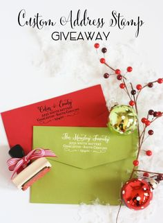 WIN a custom address stamp - Perfect for your holiday cards! LAST DAY to enter! Enter here: http://www.thetomkatstudio.com/stampgiveaway/
