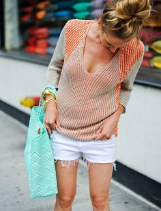 Girl on the Go - Joie Tote, Helmut Lang Sweater, Rag n Bone Denim Cutoffs // FashionableHostess.com