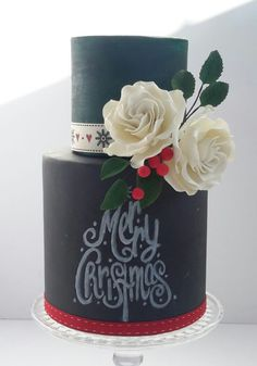 Christmas chalkboard cake
