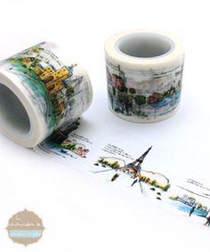 CMYK printing washi tape,village washi tape,building washi tape e-mail: Mt Washi Tape, Masking Tape, Washi Tapes, Tapas, Back To School Stationery, Cinta Washi, Scrapbooks, School Supplies, Doodles
