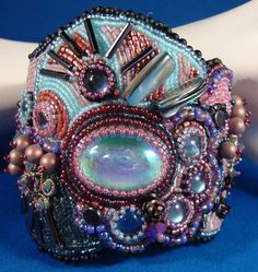 Bead Embroidery  Cotton Candy Cuff by Colormewithbeads on Etsy, $275.00