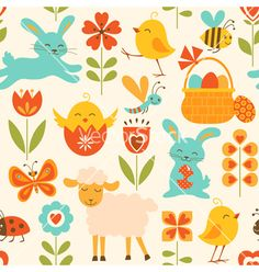 Cute+easter+pattern+vector+1167503+-+by+fireflamenco on VectorStock®