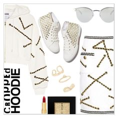 """Cropped hoodie"" by simona-altobelli ❤ liked on Polyvore featuring Moschino, Fendi, Bobbi Brown Cosmetics, Isaac Mizrahi, Topshop, MyStyle, polyvorecontest and CroppedHoodie"