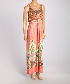 315f701caa Another great find on  zulily! OneWorld Salmon Print Maxi Dress by OneWorld   zulilyfinds