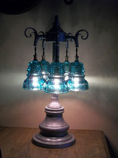 ANTIQUE GLASS ART~Orig Telegraph Glass Insulator Table Lamp-5 Green Insulators