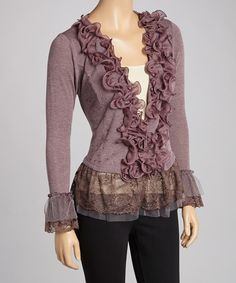 Take a look at this Mauve Ruffle Linen-Blend Top on zulily today!