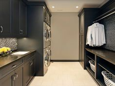 The Beautiful Laundry Room Ideas To Inspire You. Let our Creative Laundry Room Ideas give you some inspiration! These are the BEST creative laundry room ideas for organization and design! Laundry Room Decals, Laundry Room Remodel, Laundry Room Cabinets, Laundry Room Organization, Laundry In Bathroom, Diy Cabinets, Small Laundry, Laundry Closet, Black Cabinets