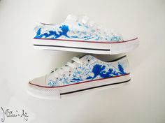 Japanese hand painted shoes / The great wave off Kanagawa shoes / Origami shoes