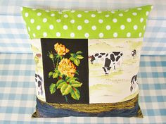 Pillow cover patchwork rose cow dots retro cushion green black
