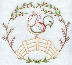 A rooster sits on a fence in a quick stitch machine embroidery design.