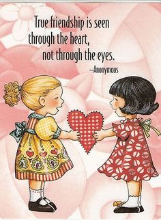 True Friendship Seen Through Heart Not Eyes Magnet Mary Engelbreit Artwork Mary Engelbreit, My Best Friend, Best Friends, Happy Friends Day, Illustrations, Be My Valentine, Happy Valentines Day Friendship, Happy Friendship, Friend Friendship