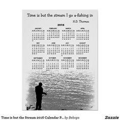 Thoreau Time Fishing Stream 2016 Calendar Poster